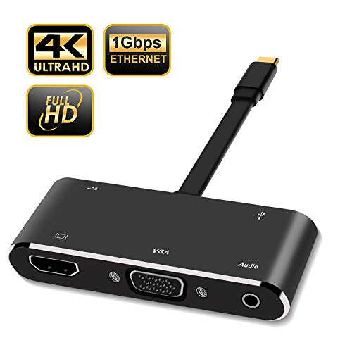 USB Typ C Hub Adapter für Nintendo Switch Dock, 5 in 1 Multiport Hub Adapter, HDMI 4K USB 3.0 Konverter, VGA, USB 3.0, Audio mit PD2.0, Unterstützt Nintendo, Samsung Dex, MacBook Pro, Google Pixeltm