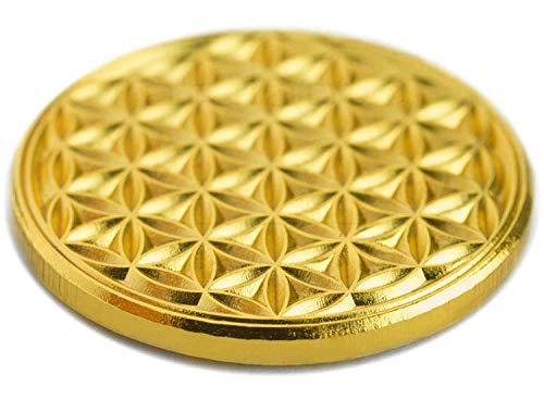 EnerChrom Blume des Lebens - Münze Metall - 1 Stück - 2,3cm Gold - Lebensblume Ersatz Einkaufswagenchip Glücksbringer
