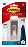 Command Modern Reflections Large Metal Bath Hook, Satin Nickel, 1-Hook with Water-Resistant Strips, Organize Damage-Free