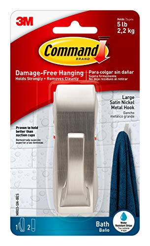 Command Modern Reflections Metal Bath Hook, Large, Satin Nickel, 1-Hook with Water-Resistant Strips (MR03-SN-BES), Organize Damage-Free