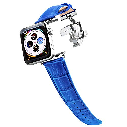 Longvadon Men's Caiman Series Watch Band - Compatible with Apple Watch 42MM (Series 1-3) & 44MM (Series 4-5) - Genuine Top Grain Leather - Mediterranean Blue with Silver Details - M Size