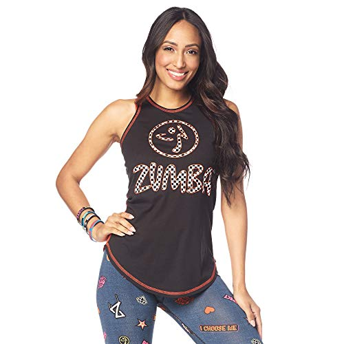 Zumba Activewear Fitness Training High Neck Tank Top Graphic Dance Sportbekleidung Damen, B2B Black, XS