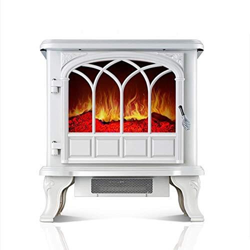 NQ-ChongTian Heizung Fernbedienung Elektroherd realistische Flammenelektroherd Heizung Elektro-Kamin-Weiß