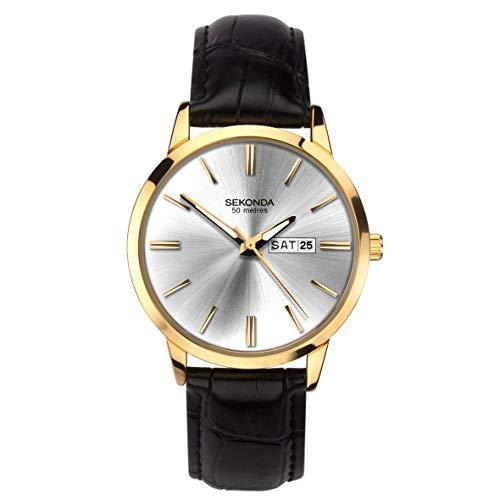 Sekonda Reloj clásico con correa de cuero para hombre 1776
