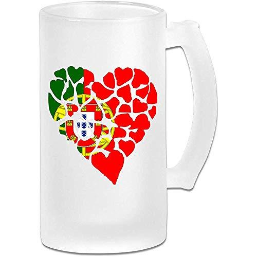 Hart Portugal Vlag Frosted Glas Stein Bier Mok, Pub Mok, Drank Mok, Gift voor Bier Drinker, 500Ml (16.9Oz)