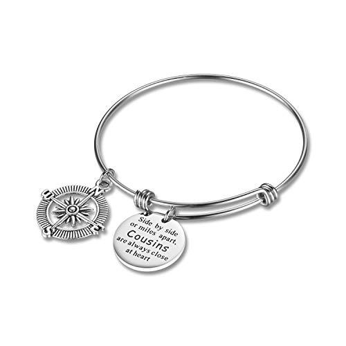 CJ&M Cousin Bangle, Cousin Gift, Cousin Bracelet, Cousin Jewelry, Gifts for Cousins, Compass Charm, Cousin Pendants Bangle