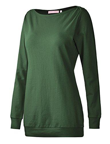 Regna X Boho for Womans Activewear Comfy Tunics Green 2XL Plus Size Big Boatneck Long Pullover Sweatshirts