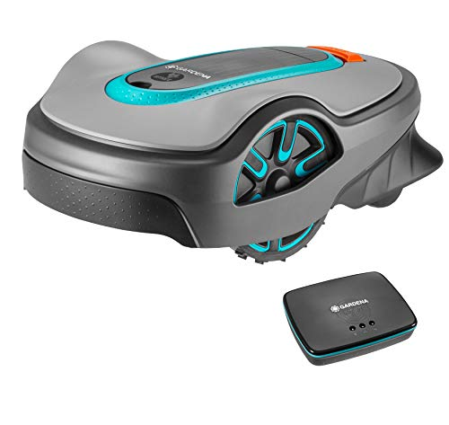 Gardena Smart SILENO Life Set, Robotic Lawnmower for Lawn Areas of Up to 750 m sq, Controllable Via Smart App, Low-Noise, Including Smart Gateway (19113-28)