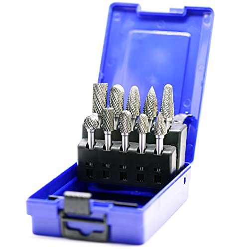 10pcs Carbide Burrs Set with 1/4'' Shank Double Cut Solid Power Tools Tungsten Carbide Rotary Files Bits for Die Grinder Metal Wood Carving Engraving Polishing Drilling Grinding Milling Cutting