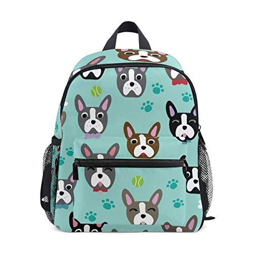 OREZI Kids Backpacks, Boston Terrier French Bulldog Schoolbags for Kindergarten Preschool Toddler Boys/Girls Bookbag Children School Backpack