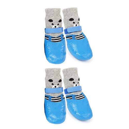 HUI JIN Calcetines para perro para mascotas, impermeables, antideslizantes, protectores de patas para interiores y exteriores, 4 unidades, color azul