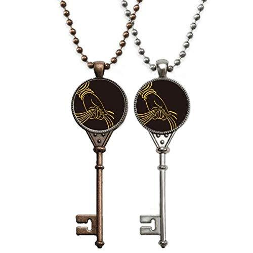 Kulturreligion, Handschal, Muster, Schlüssel-Halskette, Anhänger, Schmuck, Paar-Dekoration