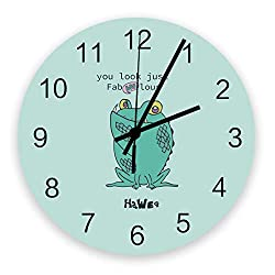 Prime Leader Wall Clock Non-Ticking 12 Inch Round Wooden Clock Boo Green Frog You Look Just Fablous Halloween Style Silent Battery Operated Clock Decorative Living Room Hanging Clocks