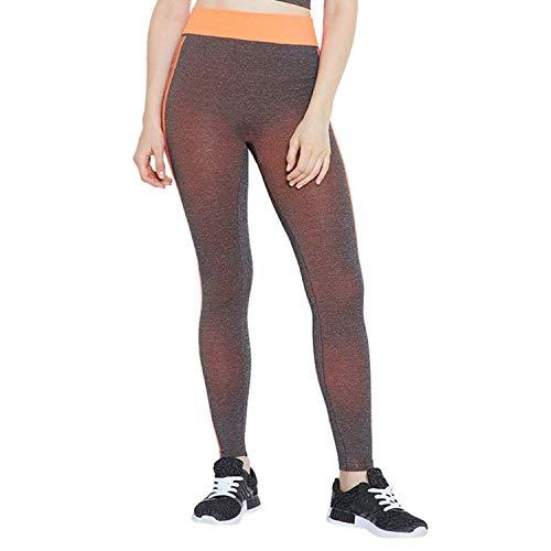 CAMEY Women Stretchable Yoga Pant Gym Legging Tights (Orange)