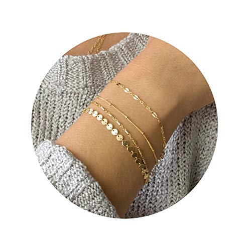 Lafeil Frauen Armband Silber Chrysalis Armreif Versilbert 4 Stück Set Lesbie Rund Plättchen Versilbert Damenarmband 16 cm