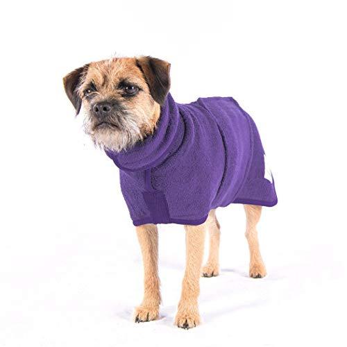 CHYIR Toalla de baño súper absorbente para mascotas, secado rápido y lavable a máquina, microfibra para perro grande mediano Animall (L, púrpura)