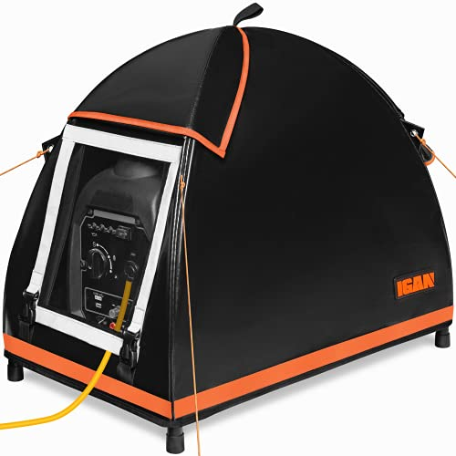 IGAN Small Inverter Generator Tent Cover While Running, Compatible for Honda and Most 1000~2300 Watts Generators, Portable Outdoor All-Weather Tarpaulin Cover for Rain, Orange