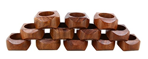 Ajuny Set Of 12 Wooden Handmade Decorative Napkin Rings Gifts For Dinner Table Decor 1.5 inch