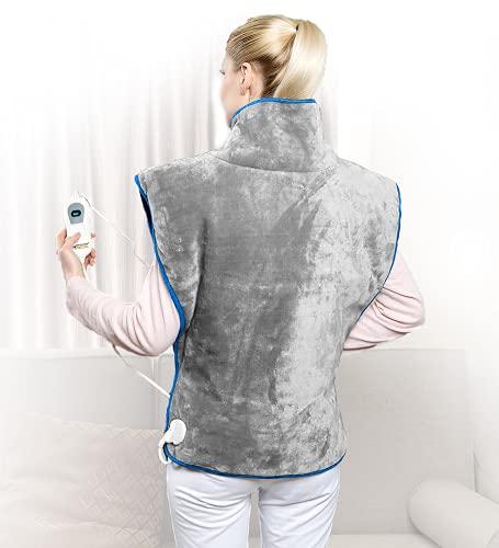 NEWSUMIT Coussin Chauffant d'épaule, de nuque et de dos électrique XL - Soulagement de la douleur - 3 niveaux de température - Réchauffement rapide - Protection à l'arrêt autom 90 min - 60x90 cm.