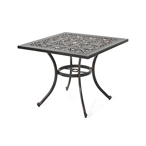 Contemporary Home Living 34.75' Brown Distressed Square Outdoor Patio Dining Table