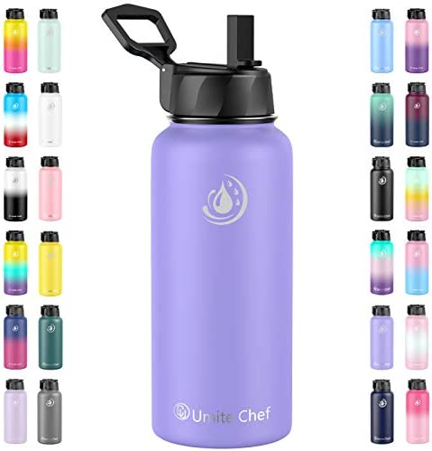 Umite Chef Sports Water Bottle with New Wide Handle Straw Lid Vacuum Insulated Stainless Steel product image