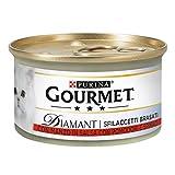 PURINA Gourmet Diamant Húmedo Gato Sfilaccetti Brasati con Ternera en Salsa con Tomates y Espinacas, 24 latas de 85 g Cada Paquete de 24 x 85 g