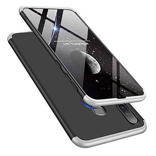 LEECOCO Samsung Galaxy A30 Case Ultra Thin 3 in 1 360 Degree Full Body Case Premium Shockproof Hard PC Plastic Anti-Scratch Bumper Cover for Samsung Galaxy A20 / A30 3 in 1 Black Silver AR
