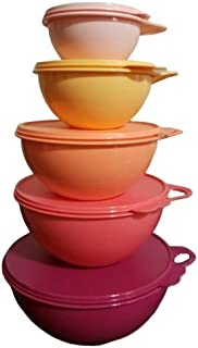 Tupperware Thatsa Mixing Bowls 5 Piece Set in Flamingo Pink Purple with matching Seal
