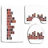 Amplitud Resumen Reproducir Canción Sintonizar Texturas Señal de radio Sonido Onda Audio Curva negra Disco digital 3 piezas Juego de alfombras de baño antideslizantes para baño Alfombra de contorno en