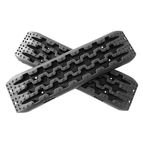 Yeeoy One Pair Set Traction Mats Black Fit to Unstuck Your Car from Snow Ice Mud and Sand Set of 2 Car Non-Slip Mats Orange Traction Mat Tire Aid Fit to Off-Road Mud Sand Snow Vehicle Extraction
