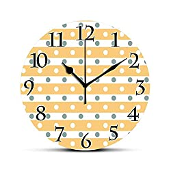 BCWAYGOD Yellow and White Silent Wall Clock Horizontal Bold Stripes with Polka Dots Old Fashioned Tile Desk Clock Round Unique Decorative for Home Bedroom Office 10in