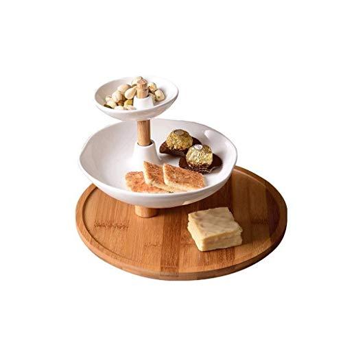 HUAHUA Bowls Cuenco de cerámica tazón cuencos vajilla de cerámica Plato de frutas, Europeo Multi-Capa soporte de la torta de visualización de la bandeja caramelo sala de estar de visita del café Ocio
