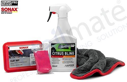 detailmate Set Reinigungsknete: Sonax Clay rot 200g - Reinigungsknetmasse scharf + Valet Pro Citrus Bling 0,5L Sprühflasche, Gleitmittel, Quick Detailer + Liquid Elements Ultra Finish, Mikrofasertuch