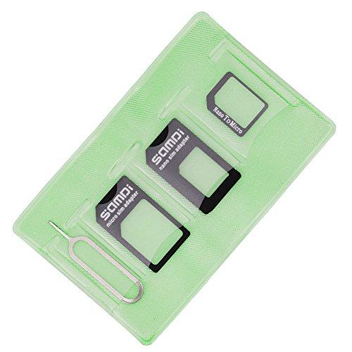 Samdi - Kit adattatore per scheda SIM include adattatore Nano Sim, adattatore Micro Sim - ago - custodia per riporre (porta tessere), facile da usare e conservare, non perderli (nero)