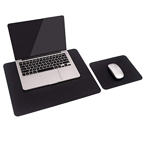 2 Pack of Mouse Pad, YSAGi Leather Desk mat Laptop Desk pad Computer Desk Mousepad Office Accessory Gift Set (Black)