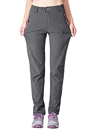 YSENTO Damen Outdoor Wanderhose Quick Dry Leichte Stretch Trekkinghose Arbeitshose mit Reißverschlusstaschen(Dunkelgrau,XL)