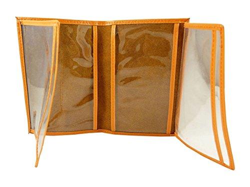 Chaussmaro - Custodia protettiva, porta carte, patente, documenti auto, in pelle, colore: Trasparente arancione taglia unica