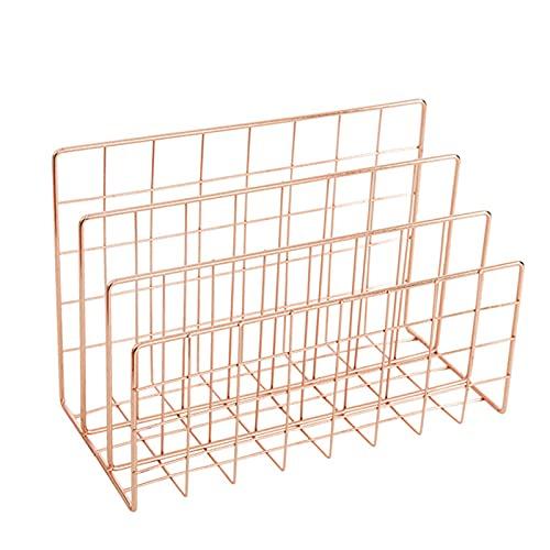 3 Griglia Supporto per documenti, Multifunzione Shelf Organizer Portadocumenti da Scrivania ,per Organize Casa Ufficio File,Oro rosa,Organizzatore desktop ,240 * 120 * 150 mm