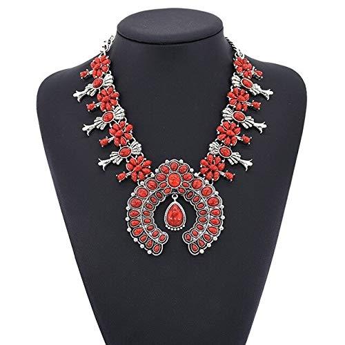 GYXYZB Collar Vintage Mujer Boho Declaración étnica Gargantilla Collar Mujer Collar Grande Collares Grandes Colgantes JoyeríaRojo