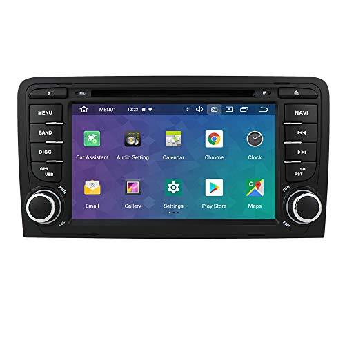 hizpo Autoradio 7 Zoll Android 10 passt für Audi A3 S3 RS3 2003-2012 Audi Radio Bluetooth USB SD 4G WiFi RDS DSP DAB+ Rückkamera Mirrorlink Lenkradsteuerung Auswählbare Tastenfarben DVD Spieler