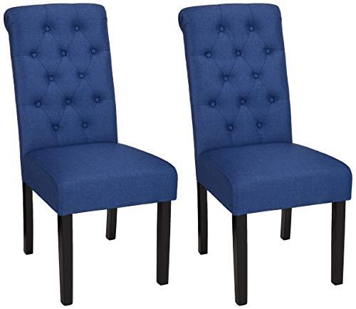 AmazonBasics - Sillas de comedor, tela, con capitoné, estilo clásico, patas de madera, 2 unidades, color azul