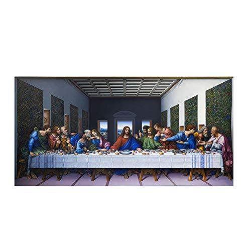 La última Cena de Leonardo Da Vinci Famoso Lienzo Abstracto Pintura Cuadro de Arte de Pared para decoración de Sala de Estar decoración de Dormitorio 60x120cm sin Marco