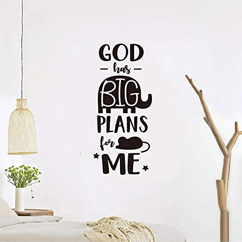 dios tiene grandes planes para mí'Citas en inglés Pegatinas de pared Pegatina de dibujos animados creativos para habitaciones de niños Dormitorio Sala de estar Decoración para el hogar A1 118x52cm