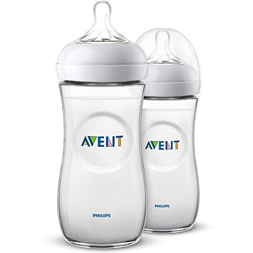 Philips Avent Biberón Natural SCF036/27 - Pack de dos biberones, de 330 ml con tetina con flujo para recién nacidos, diseñada para imitar el tacto del pecho, 0% BPA, 6m+, color transparente
