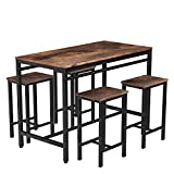 MIERES 5-Piece Dining Table Set, Bar Table with 4 Bar Stools, Breakfast Nook Table Set, Counter Height Table with Metal Legs, Perfect for Kitchen/The Bar/Restaurant, Rustic Brown