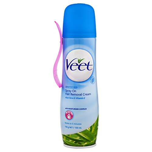 Veet Easy-Spray Haarentfernungs-Creme für sensible Haut, 1er Pack (1 x 150 ml)