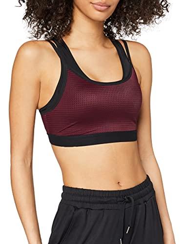 Amazon-Marke: Aurique Damen Sport-BH für mittleren Halt, Schwarz (Rot Lila/Schwarz), XS, Label:XS