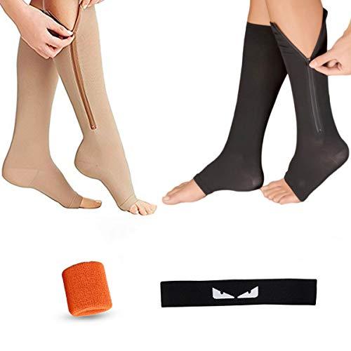 Icecode Kompressionsstrümpfe, 2 Paar, elastisch, offener Zehenbereich, Sport-Stirnband, Armbänder, geeignet für Krampfadern XXL Schwarz