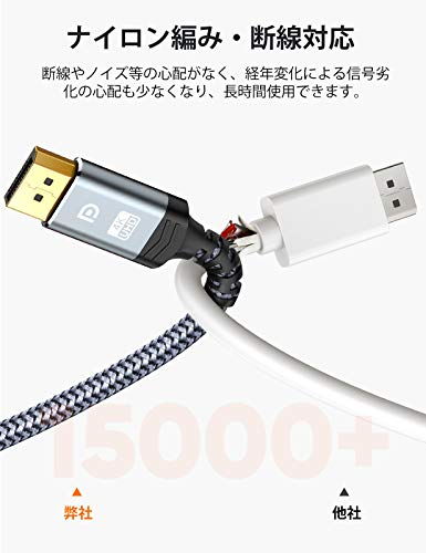 ディスプレイポートケーブル2mDPtoDPケーブル1.2規格4K@60Hz4K@30Hz2K@165Hz2K@144Hz4K*2K(4096*2160、3840*2160、2560*1440、1080P)Displayportケーブル21.6Gbpsハイスピード
