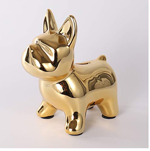 LXX1 Ceramic Dog Statue, Dog Sculpture Decor Resin Frenchie Figurine Standing French Bulldog for Dog Lovers,Gold